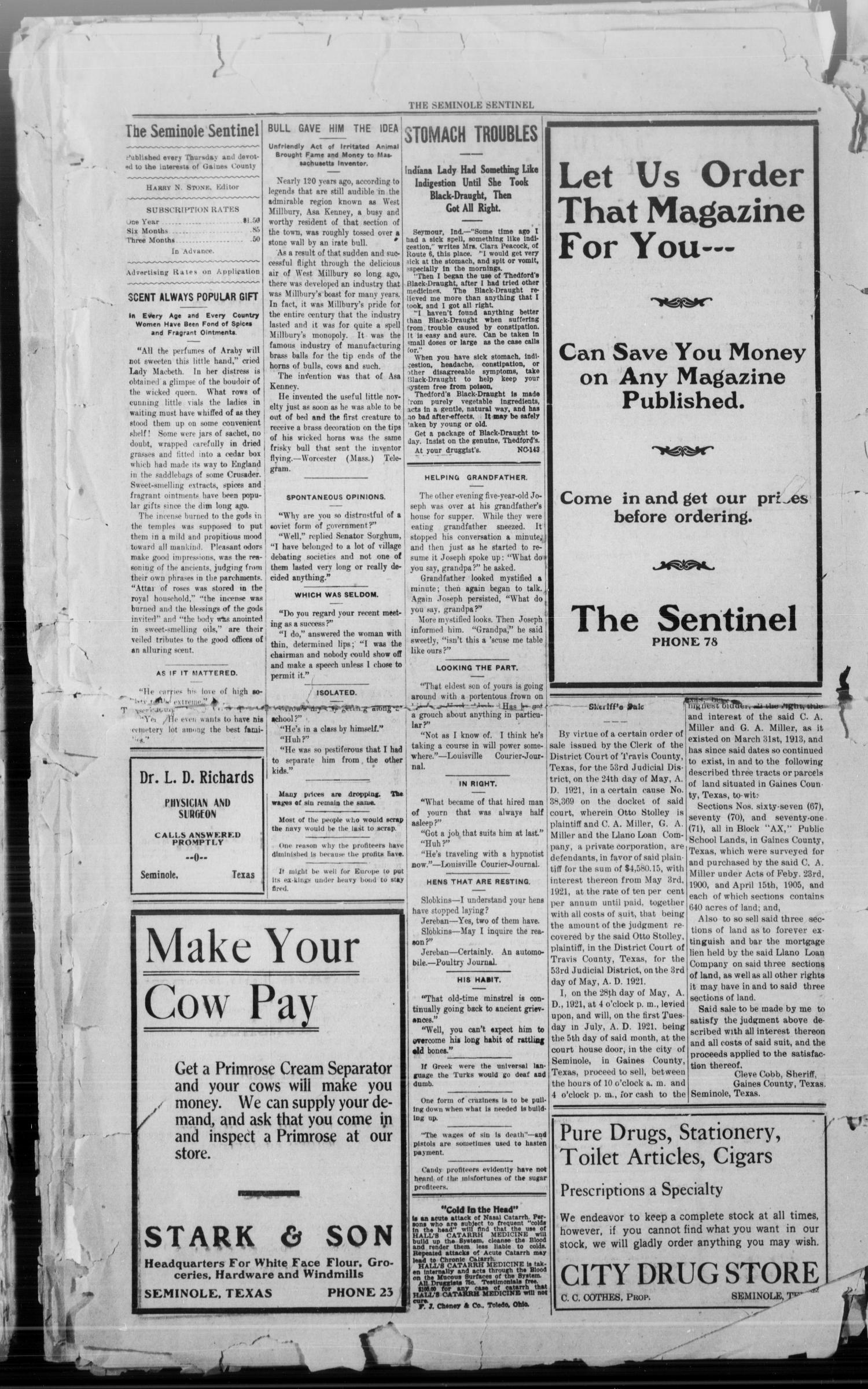 The Seminole Sentinel (Seminole, Tex.), Vol. 15, No. 11, Ed. 1 Thursday, June 2, 1921                                                                                                      [Sequence #]: 2 of 4