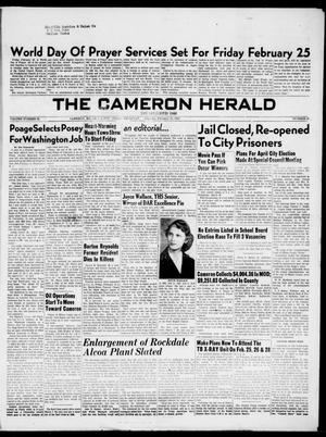 Primary view of object titled 'The Cameron Herald (Cameron, Tex.), Vol. 95, No. 46, Ed. 1 Thursday, February 24, 1955'.