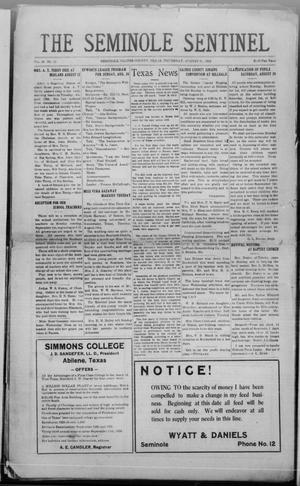 Primary view of object titled 'The Seminole Sentinel (Seminole, Tex.), Vol. 18, No. 22, Ed. 1 Thursday, August 21, 1924'.