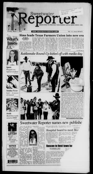 Primary view of object titled 'Sweetwater Reporter (Sweetwater, Tex.), Vol. 111, No. 88, Ed. 1 Sunday, March 1, 2009'.