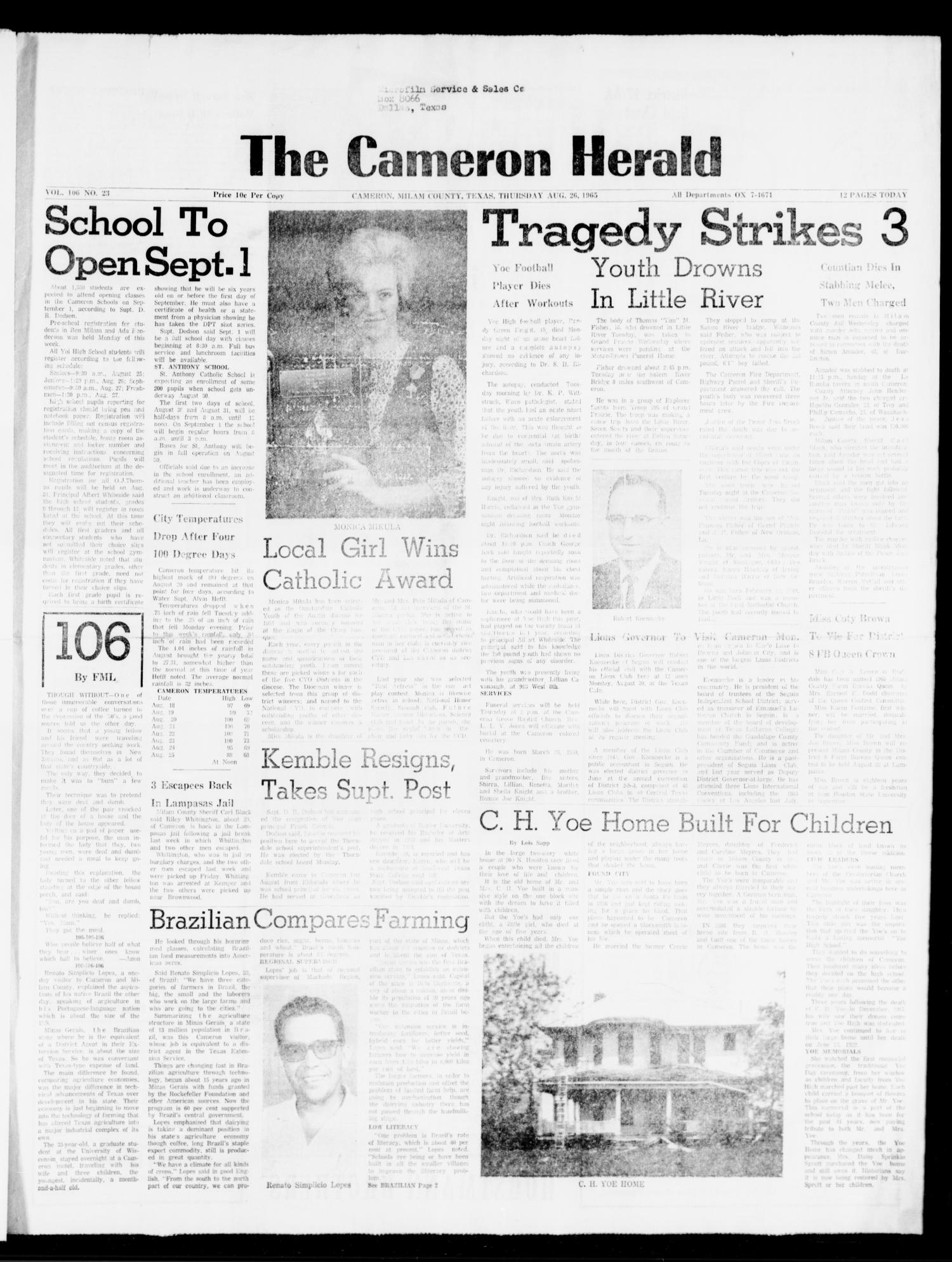 The Cameron Herald (Cameron, Tex.), Vol. 106, No. 23, Ed. 1 Thursday, August 26, 1965                                                                                                      [Sequence #]: 1 of 12