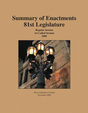 Primary view of object titled 'Texas Legislature Summary of Enactments: 81st Legislature, 1999'.