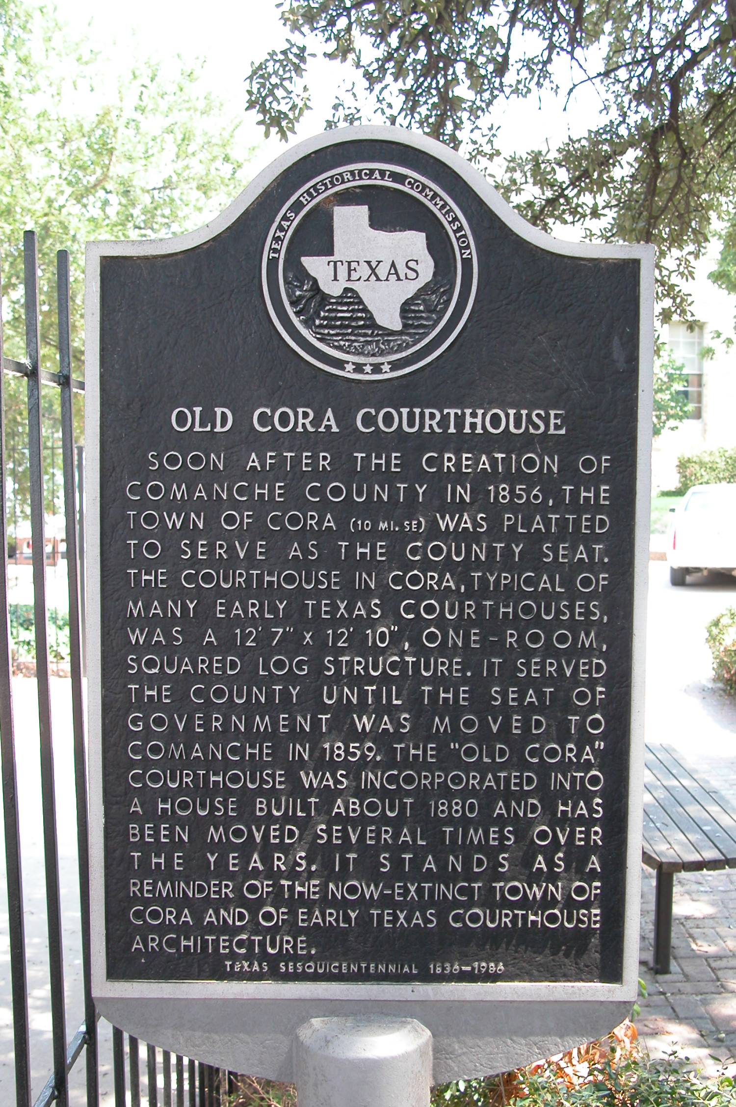 Old Cora Courthouse, Historic Plaque - The Portal to Texas