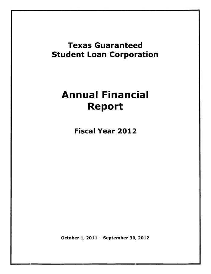 texas guaranteed student loan corporation annual financial report