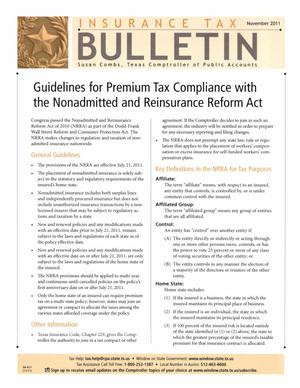 Primary view of object titled 'Insurance Tax Bulletin, November 2011'.