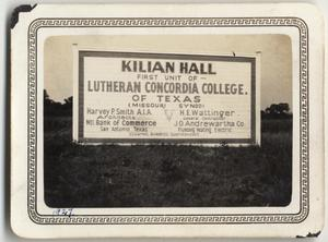 Primary view of object titled '[Advertisement describing construction of Kilian Hall]'.