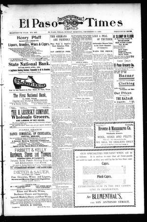 Primary view of El Paso International Daily Times (El Paso, Tex.), Vol. 18, No. 295, Ed. 1 Sunday, December 11, 1898