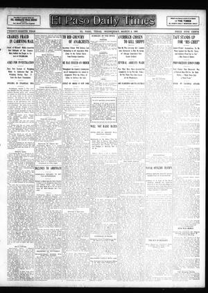 Primary view of object titled 'El Paso Daily Times (El Paso, Tex.), Vol. 28, Ed. 1 Wednesday, March 4, 1908'.