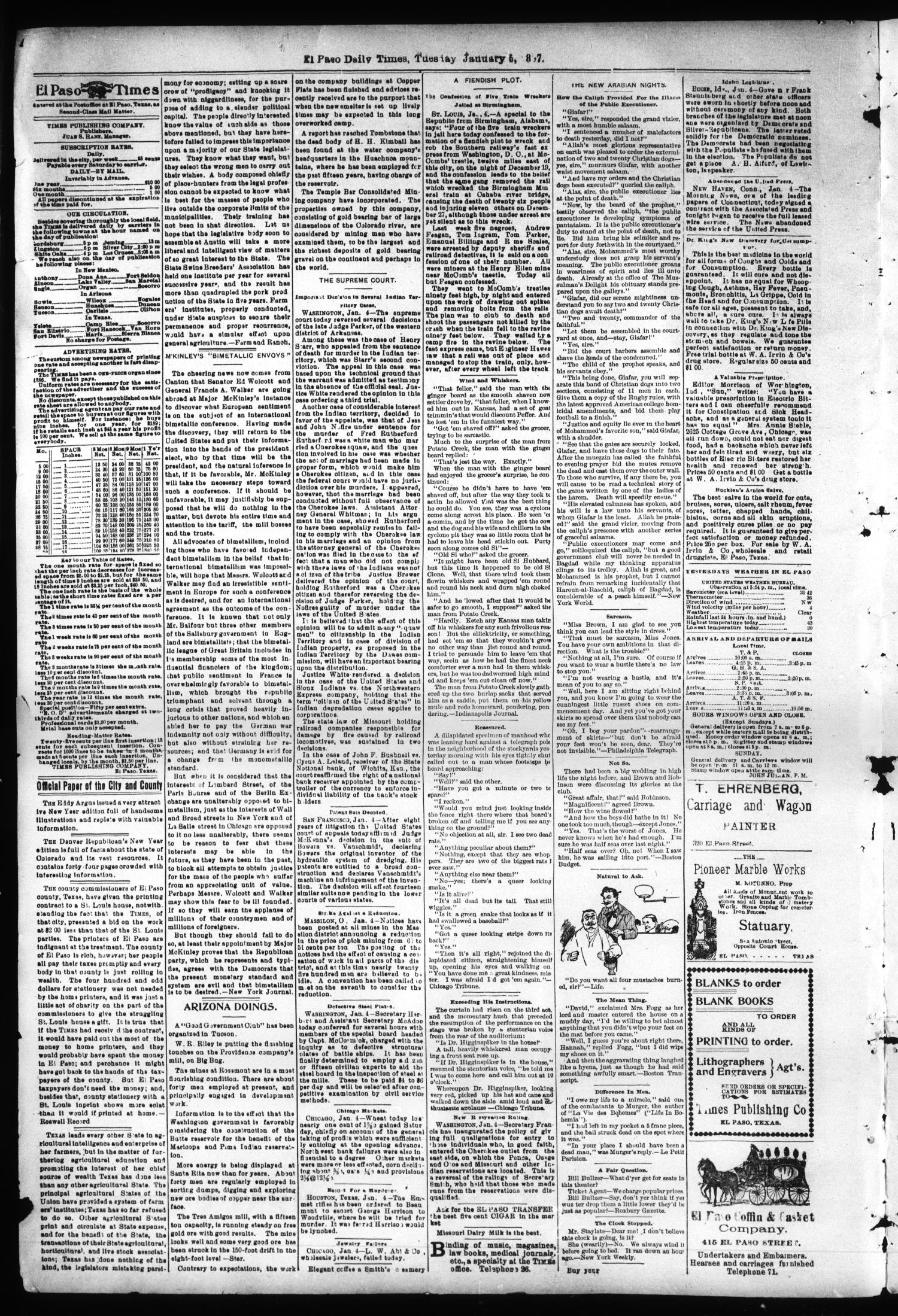 El Paso International Daily Times (El Paso, Tex.), Vol. 17, No. 4, Ed. 1 Tuesday, January 5, 1897                                                                                                      [Sequence #]: 3 of 5