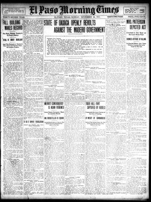 Primary view of object titled 'El Paso Morning Times (El Paso, Tex.), Vol. 32, Ed. 1 Sunday, November 26, 1911'.