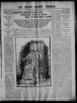 Primary view of object titled 'El Paso Daily Times. (El Paso, Tex.), Vol. 23, No. 68, Ed. 1 Tuesday, July 21, 1903'.