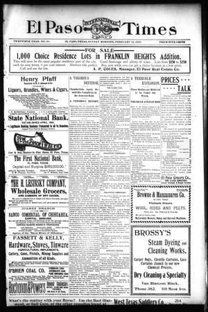Primary view of El Paso International Daily Times (El Paso, Tex.), Vol. 20, No. 48, Ed. 1 Sunday, February 25, 1900