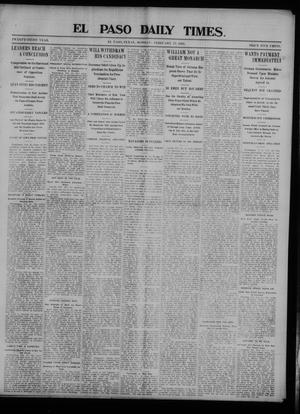 Primary view of object titled 'El Paso Daily Times. (El Paso, Tex.), Vol. 23, Ed. 1 Monday, February 23, 1903'.