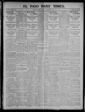 Primary view of object titled 'El Paso Daily Times. (El Paso, Tex.), Vol. 24, Ed. 1 Monday, February 1, 1904'.