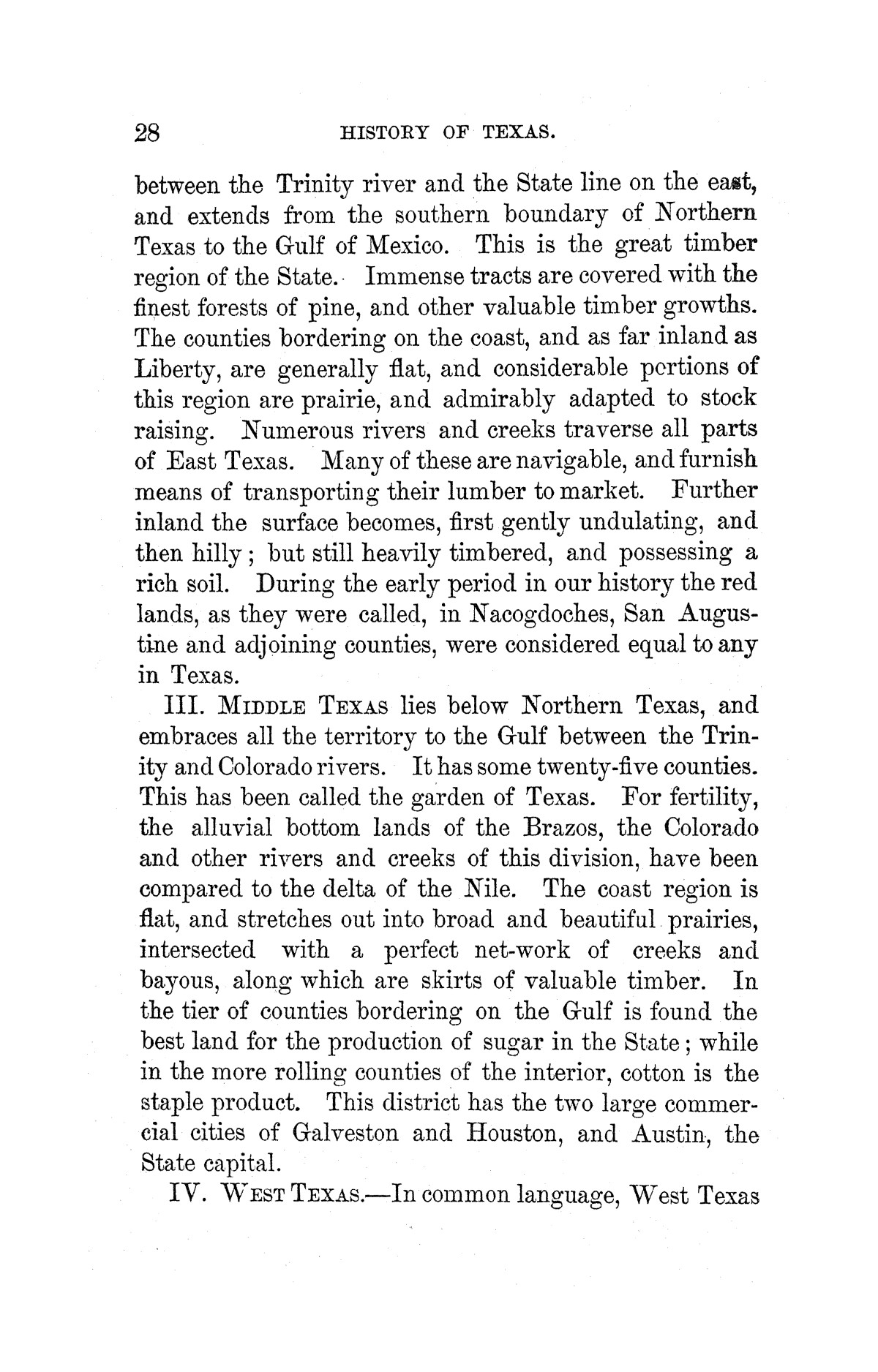 A pictorial history of Texas, from the earliest visits of European adventurers, to A.D. 1879. Embracing the periods of missions, colonization, the revolution the republic, and the state; also, a topographical description of the country ... together with its Indian tribes and their wars, and biographical sketches of hundreds of its leading historical characters. Also, a list of the countries, with historical and topical notes, and descriptions of the public institutions of the state.                                                                                                      [Sequence #]: 34 of 859