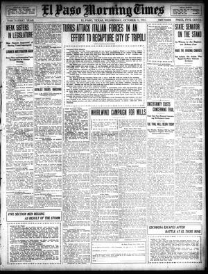 Primary view of object titled 'El Paso Morning Times (El Paso, Tex.), Vol. 31, Ed. 1 Wednesday, October 11, 1911'.