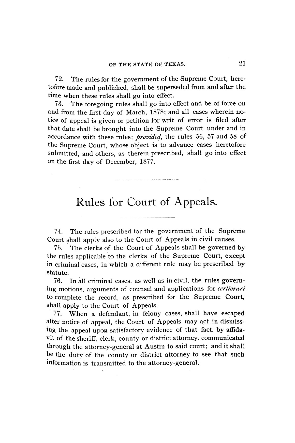 Rules for the courts of Texas: adopted by order of the Supreme Court at Tyler on the first day of December, A.D. 1877: together with amendments thereto at various times up to the close of the Austin term, A.D. 1890                                                                                                      [Sequence #]: 23 of 64