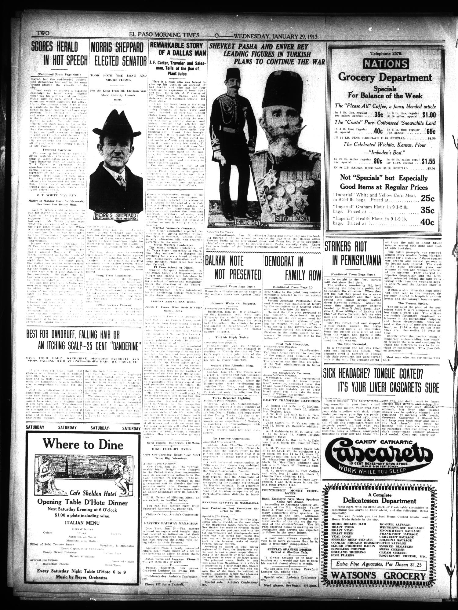 El Paso Morning Times (El Paso, Tex.), Vol. 32, Ed. 1 Wednesday, January 29, 1913                                                                                                      [Sequence #]: 2 of 10