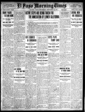 Primary view of object titled 'El Paso Morning Times (El Paso, Tex.), Vol. 31, Ed. 1 Wednesday, September 13, 1911'.