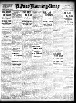 Primary view of object titled 'El Paso Morning Times (El Paso, Tex.), Vol. 32, Ed. 1 Tuesday, February 13, 1912'.