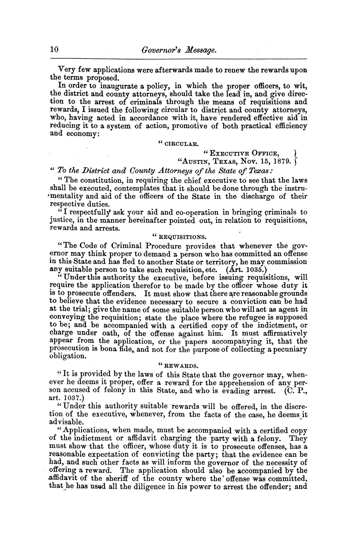 Message of Gov. O. M. Roberts on appropriations and expenditures under the control of the governor to the seventeenth legislature of the state of of Texas, convened at the city of Austin, in regular session, January 11, 1881.                                                                                                      [Sequence #]: 10 of 23