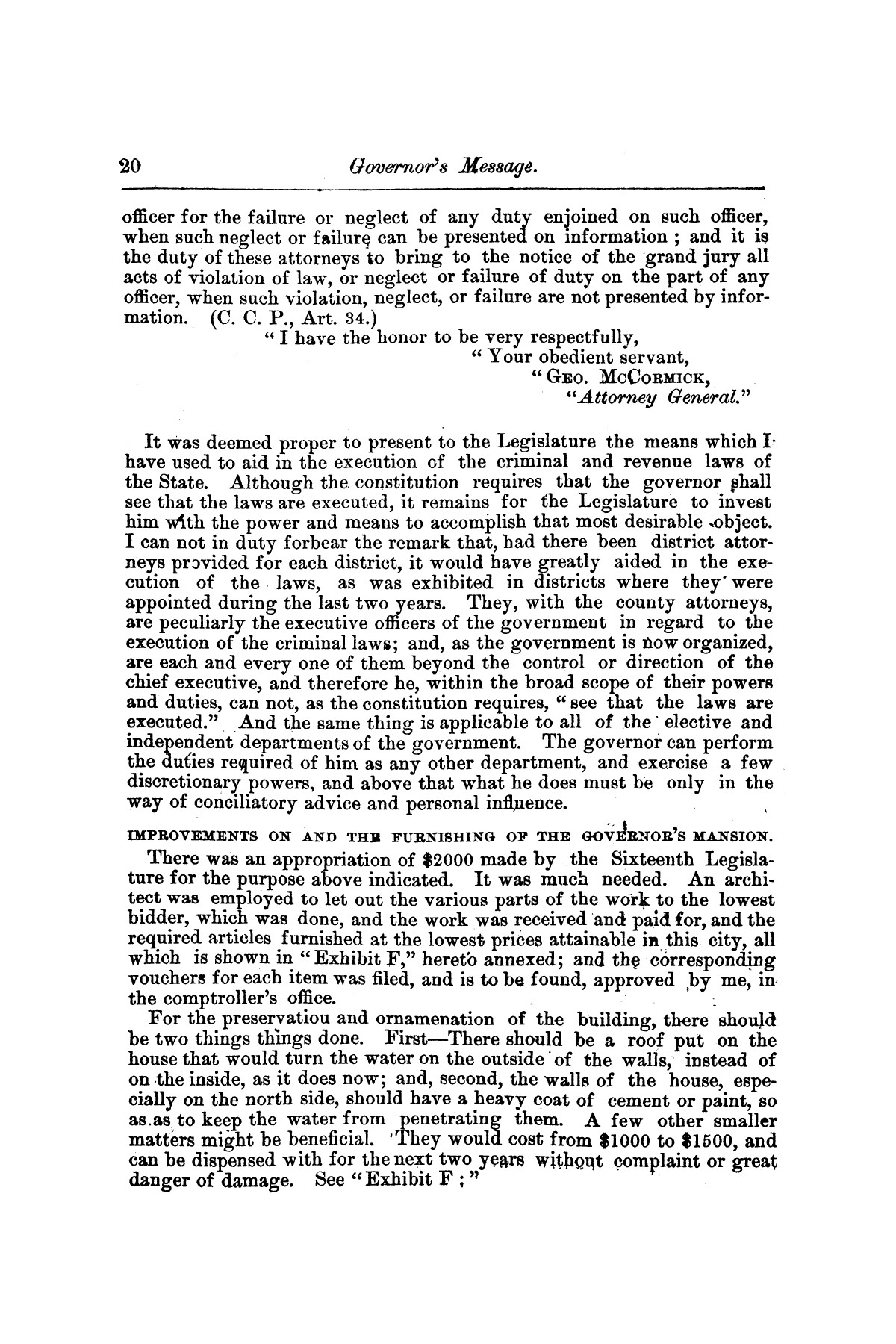 Message of Gov. O. M. Roberts on appropriations and expenditures under the control of the governor to the seventeenth legislature of the state of of Texas, convened at the city of Austin, in regular session, January 11, 1881.                                                                                                      [Sequence #]: 20 of 23
