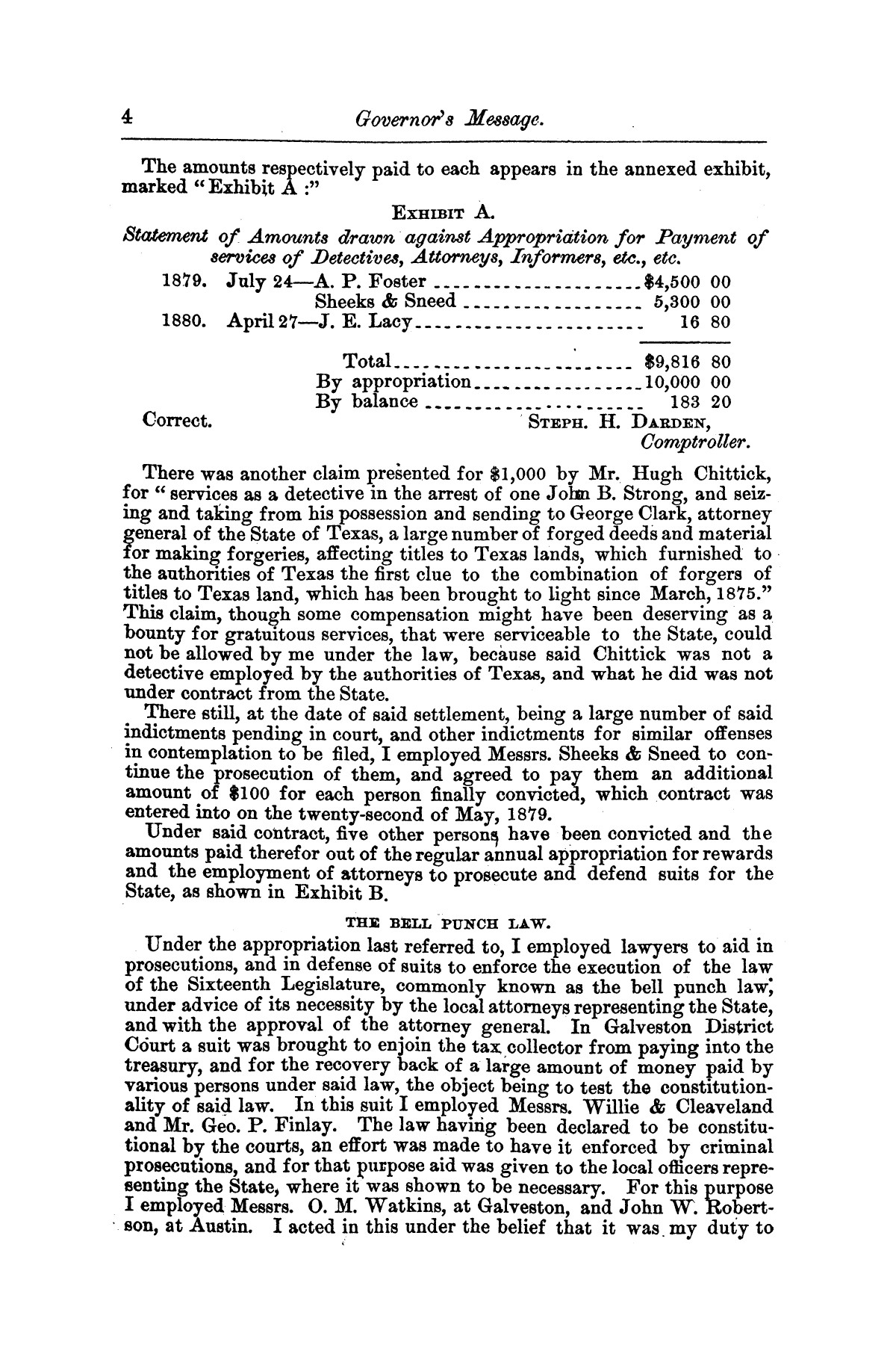 Message of Gov. O. M. Roberts on appropriations and expenditures under the control of the governor to the seventeenth legislature of the state of of Texas, convened at the city of Austin, in regular session, January 11, 1881.                                                                                                      [Sequence #]: 4 of 23