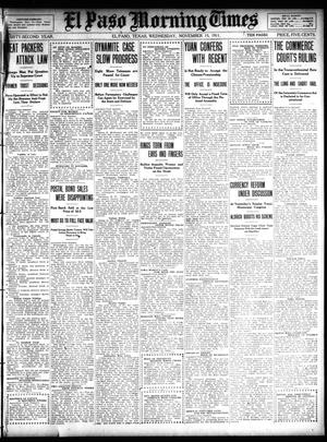 Primary view of object titled 'El Paso Morning Times (El Paso, Tex.), Vol. 32, Ed. 1 Wednesday, November 15, 1911'.