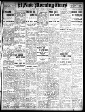 Primary view of object titled 'El Paso Morning Times (El Paso, Tex.), Vol. 32, Ed. 1 Saturday, November 11, 1911'.