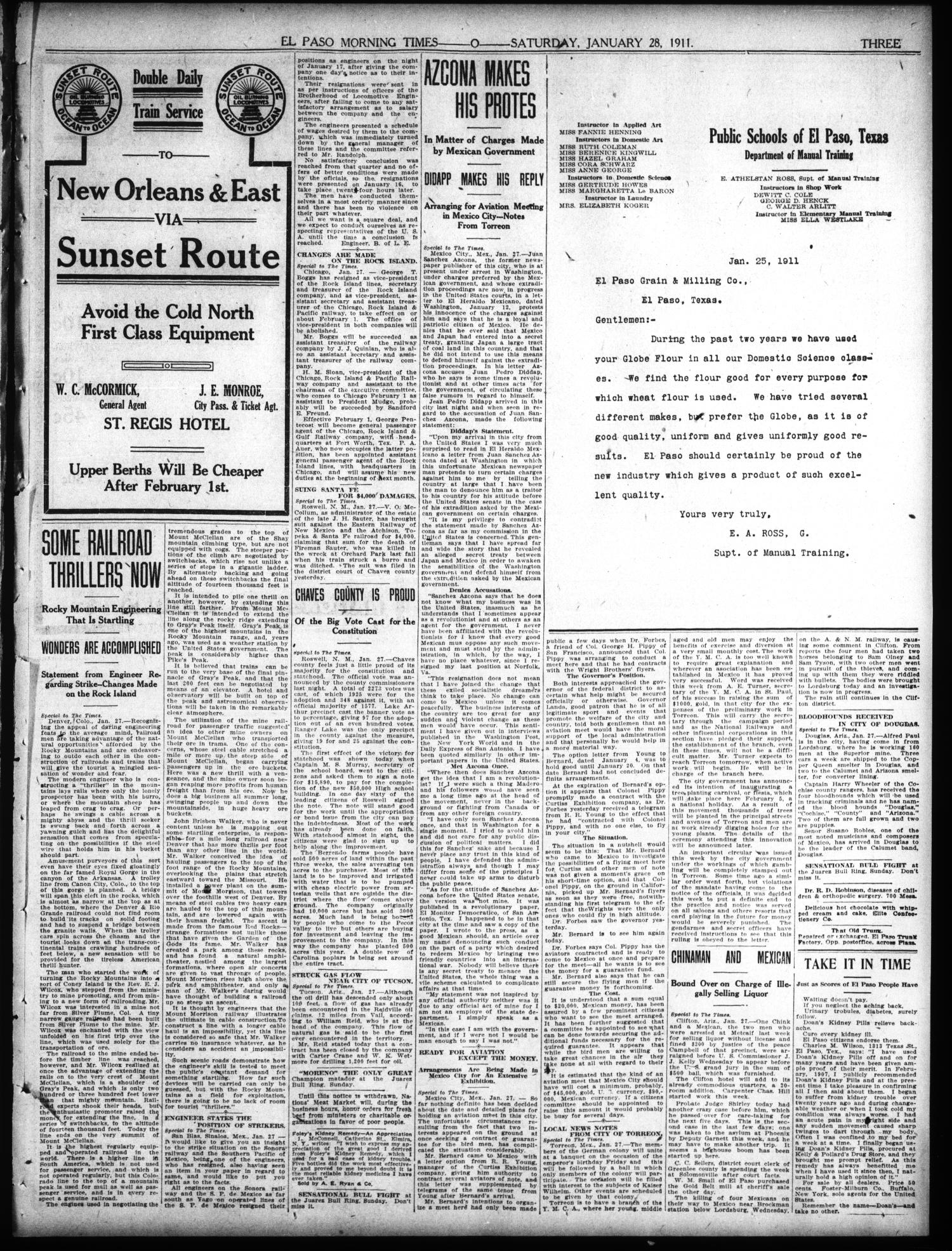 El Paso Morning Times (El Paso, Tex.), Vol. 31, Ed. 1 Saturday, January 28, 1911                                                                                                      [Sequence #]: 3 of 10