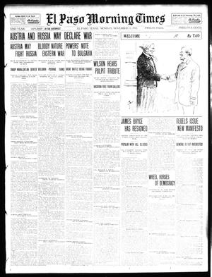 Primary view of object titled 'El Paso Morning Times (El Paso, Tex.), Vol. 32, Ed. 1 Monday, November 11, 1912'.