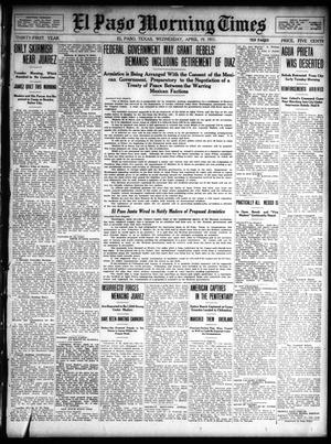 Primary view of object titled 'El Paso Morning Times (El Paso, Tex.), Vol. 31, Ed. 1 Wednesday, April 19, 1911'.