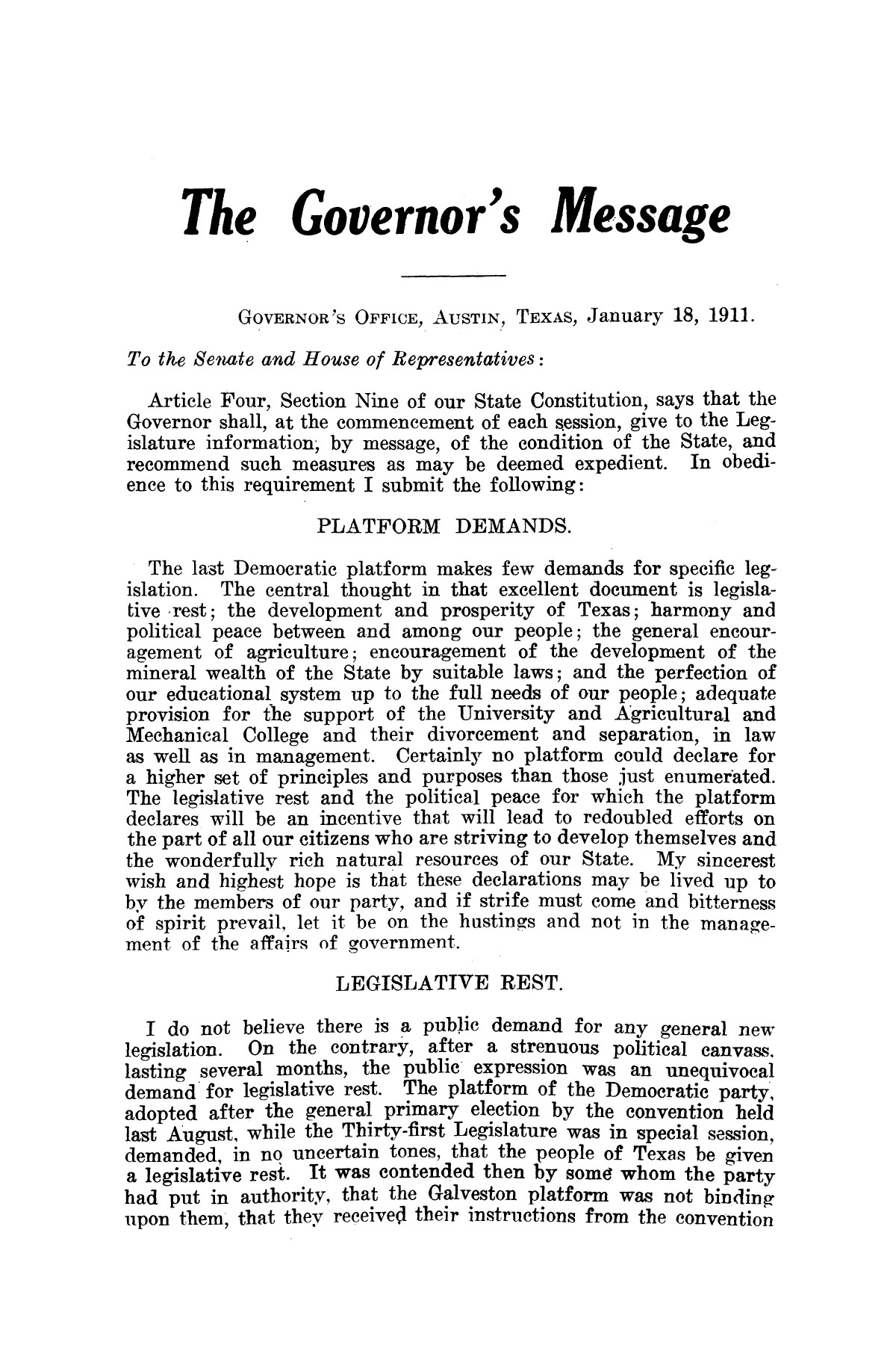 Message of Governor O. B. Colquitt to the thirty-second legislature of Texas.                                                                                                      [Sequence #]: 3 of 24