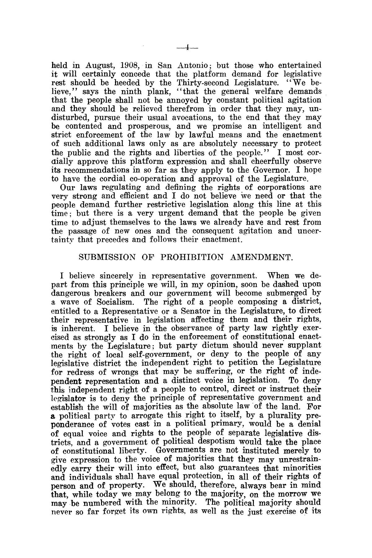 Message of Governor O. B. Colquitt to the thirty-second legislature of Texas.                                                                                                      [Sequence #]: 4 of 24