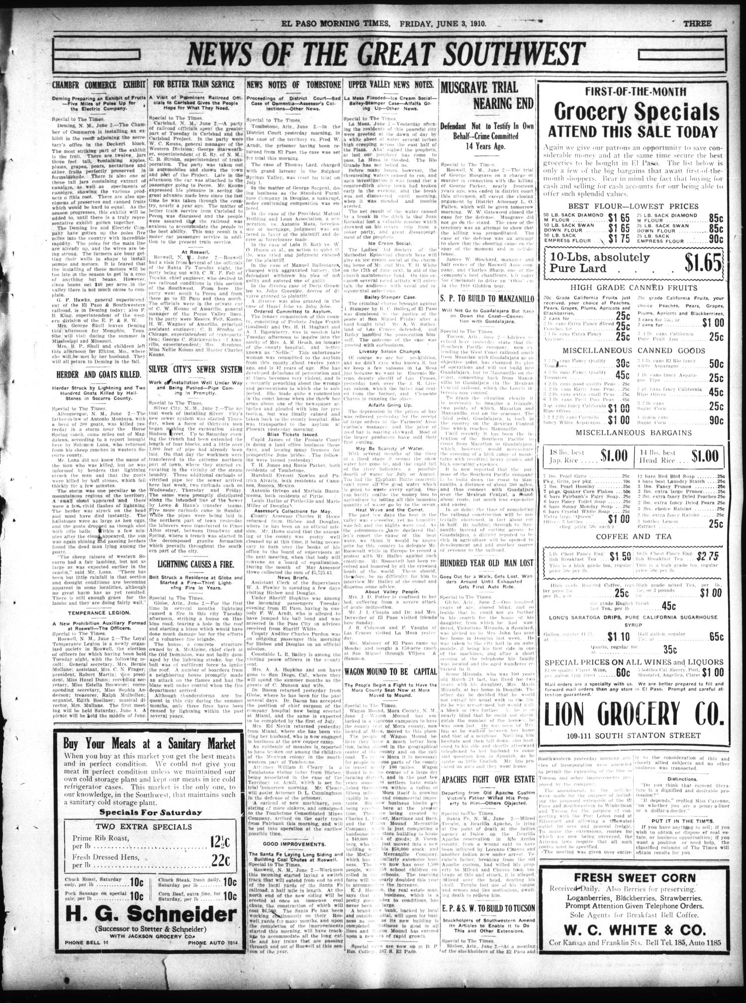 El Paso Morning Times (El Paso, Tex.), Vol. 30, Ed. 1 Friday, June 3, 1910                                                                                                      [Sequence #]: 3 of 8