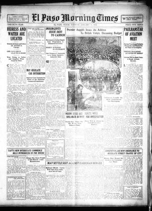 Primary view of object titled 'El Paso Morning Times (El Paso, Tex.), Vol. 30, Ed. 1 Tuesday, January 11, 1910'.