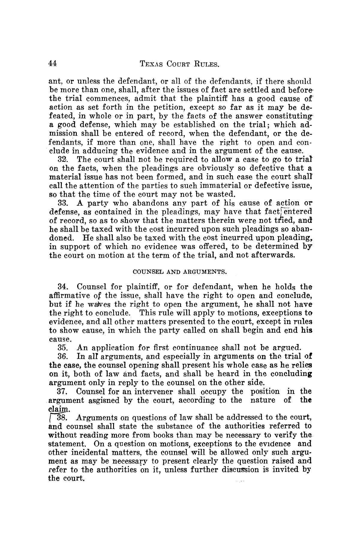 Gammel's Rules of the Courts of Texas                                                                                                      [Sequence #]: 44 of 70