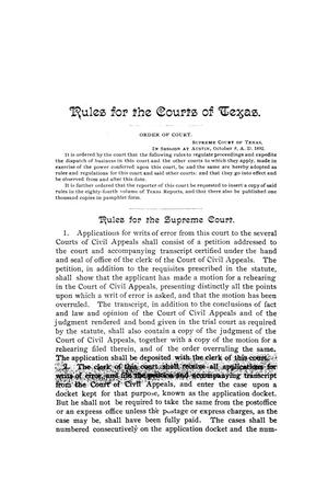 Primary view of object titled 'Rules for the courts of Texas. Adopted by order of the Supreme Court at Austin on the eighth day of October, A.D. 1892.'.