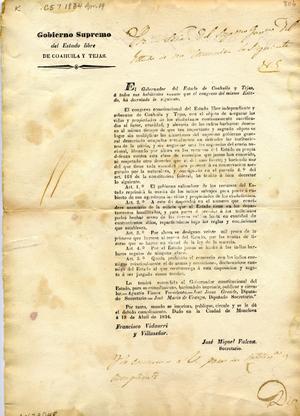 Gobierno Supremo del Estado libre de Coahuila y Tejas