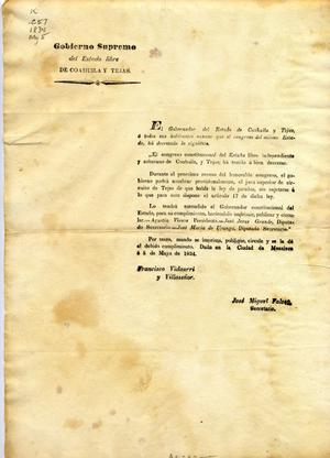 [Decree of the Congreso Constitucional promulgated May 5, 1834, by Governor Vidaurri y Villaseñor]