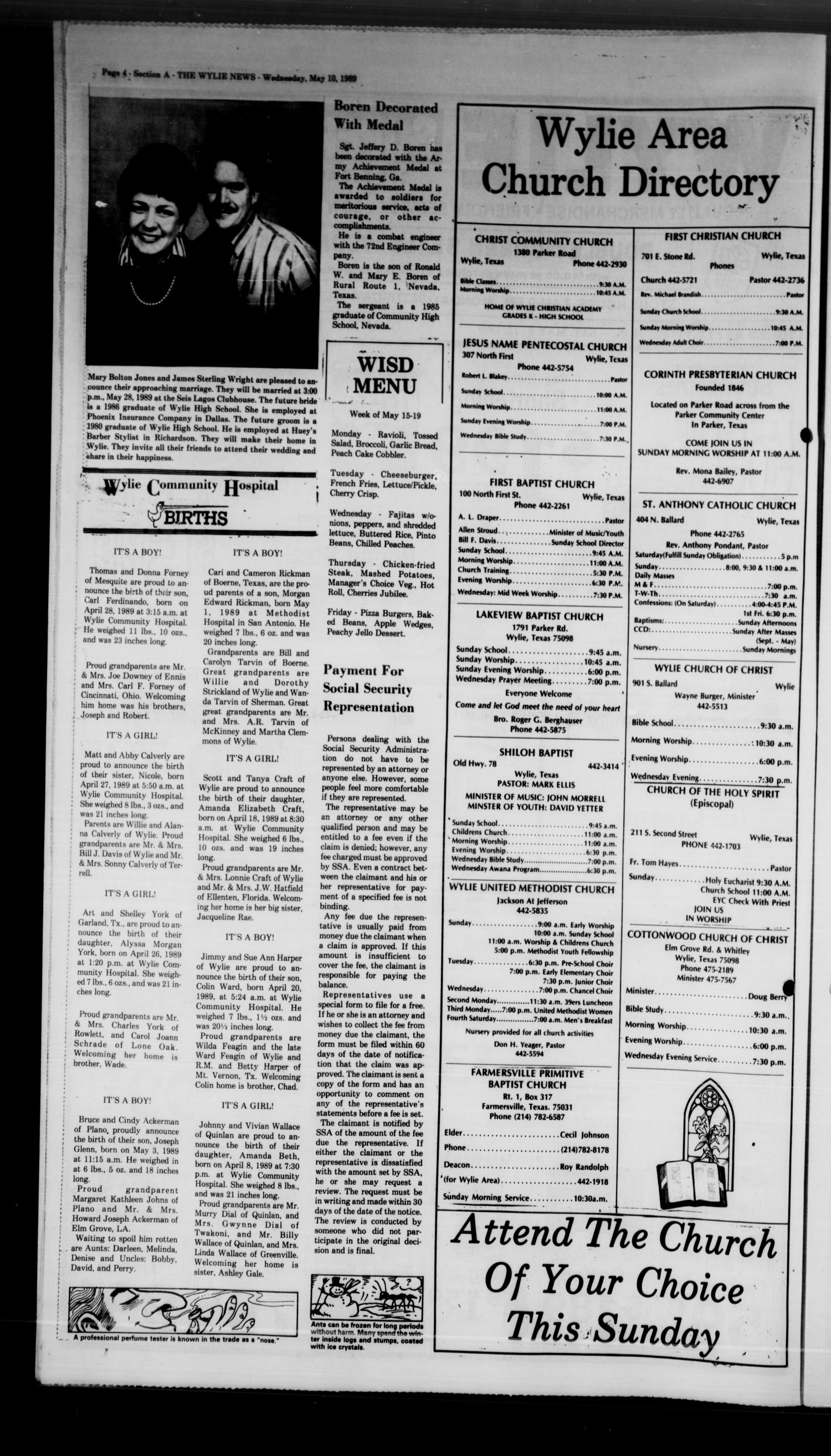 The Wylie News (Wylie, Tex.), Vol. 41, No. 48, Ed. 0 Wednesday, May 10, 1989                                                                                                      [Sequence #]: 4 of 18