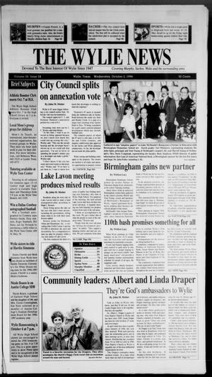 Primary view of object titled 'The Wylie News (Wylie, Tex.), Vol. 50, No. 18, Ed. 1 Wednesday, October 2, 1996'.