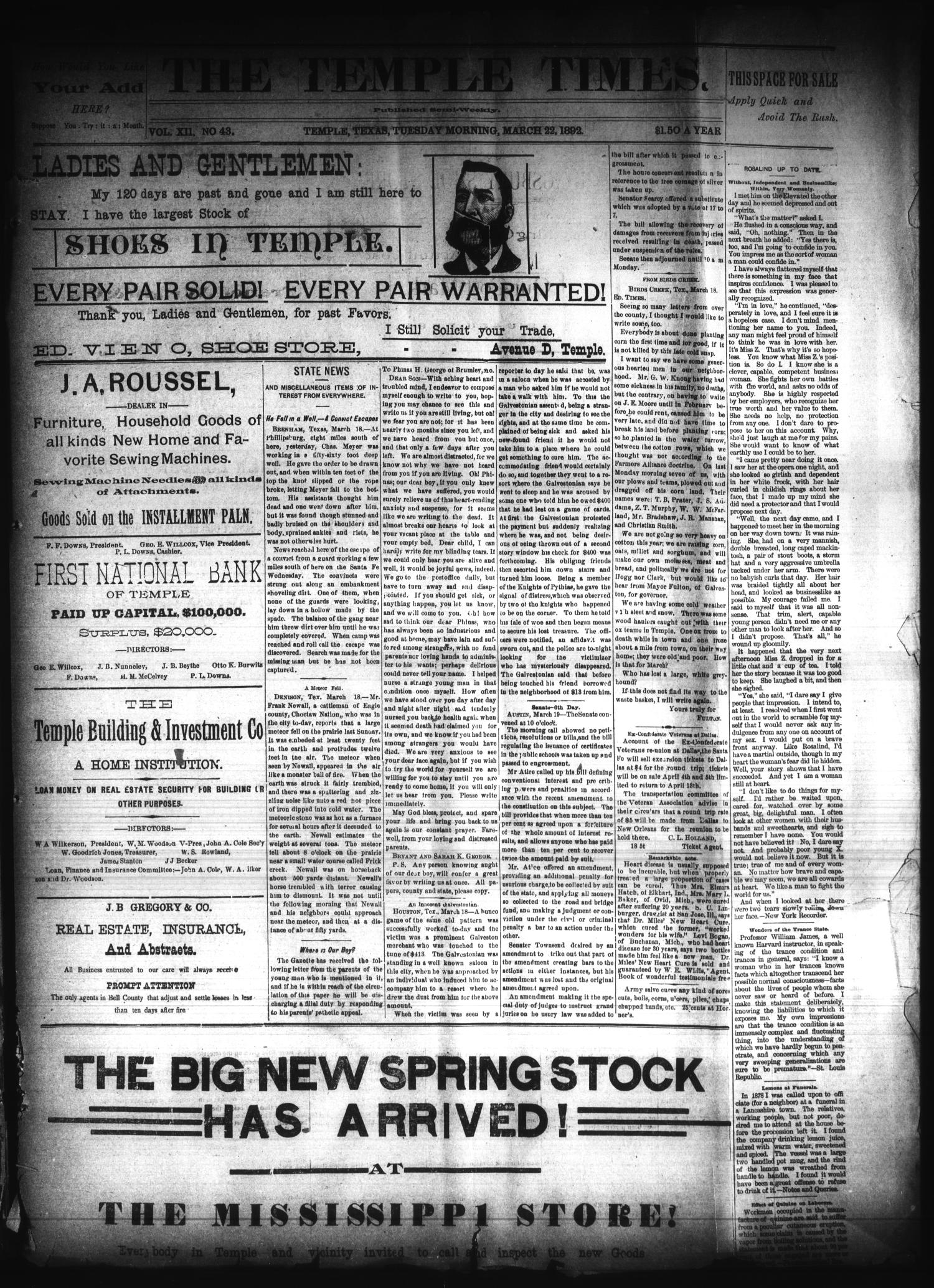 The Temple Times. (Temple, Tex.), Vol. 12, No. 43, Ed. 1 Tuesday, March 22, 1892                                                                                                      [Sequence #]: 1 of 4