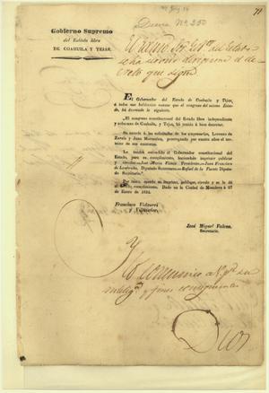 Primary view of Gobierno Supremo del Estado libre de Coahuila y Tejas, Decree No. 250