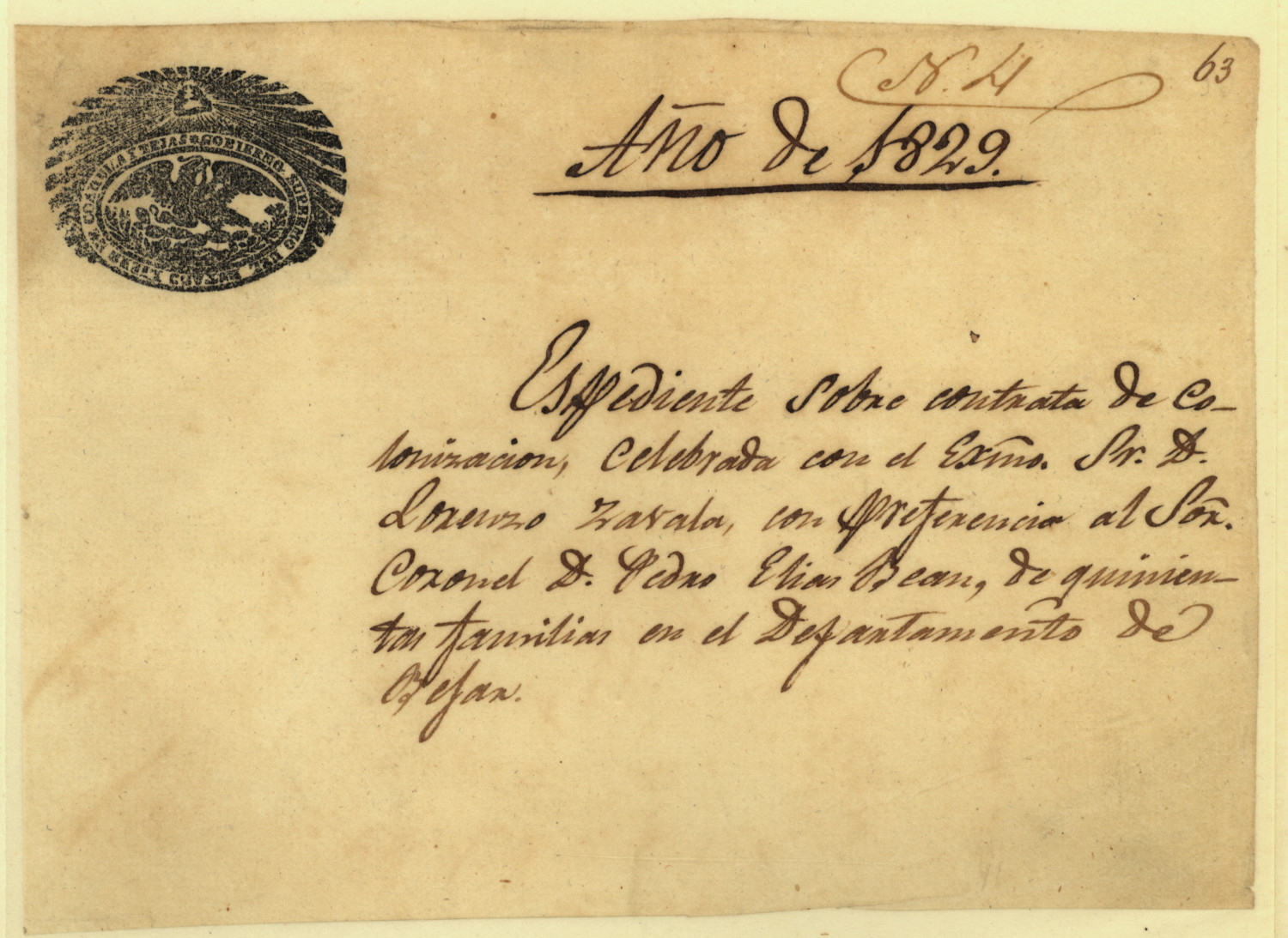 Expediente of Lorenzo de Zavala's 1829 colonization contract                                                                                                      [Sequence #]: 1 of 1