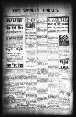 Primary view of object titled 'The Weekly Herald. (Weatherford, Tex.), Vol. 1, No. 36, Ed. 1 Thursday, January 10, 1901'.