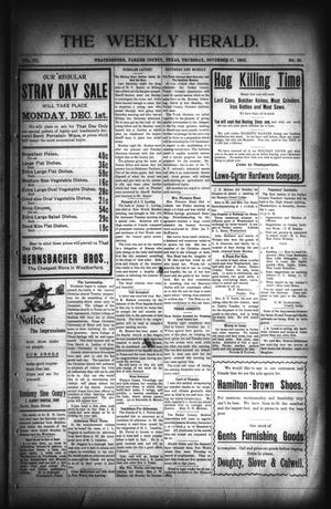 Primary view of The Weekly Herald. (Weatherford, Tex.), Vol. 3, No. 30, Ed. 1 Thursday, November 27, 1902