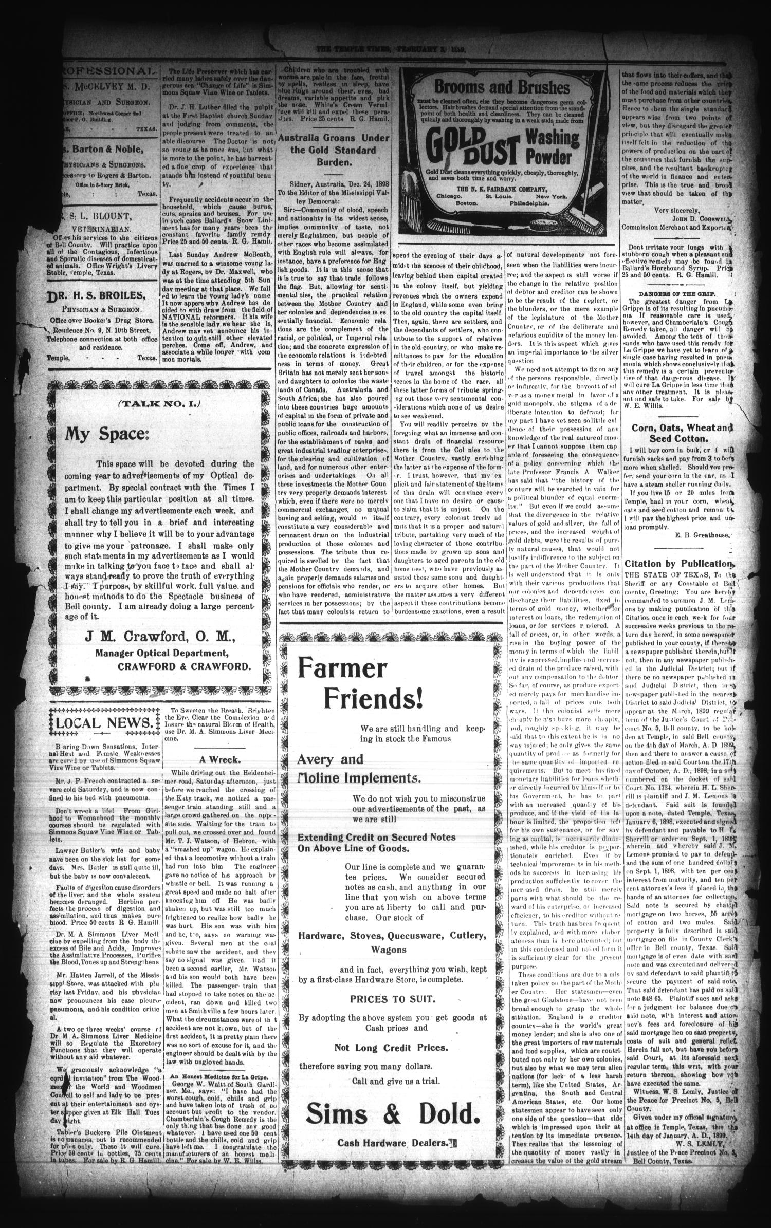 The Temple Times. (Temple, Tex.), Vol. 18, No. 8, Ed. 1 Friday, February 3, 1899                                                                                                      [Sequence #]: 3 of 8
