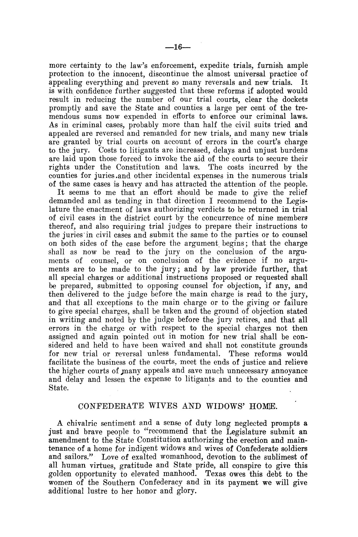 Message of Governor T.M. Campbell to the thirtieth legislature of Texas, to which is appended the State Democratic Platform adopted at Dallas, Texas, August 13, 1906.                                                                                                      [Sequence #]: 16 of 27