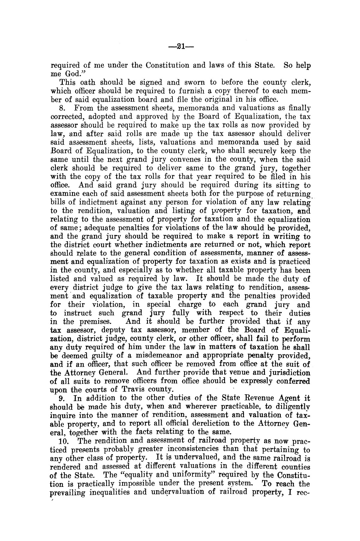 Message of Governor T.M. Campbell to the thirtieth legislature of Texas, to which is appended the State Democratic Platform adopted at Dallas, Texas, August 13, 1906.                                                                                                      [Sequence #]: 21 of 27